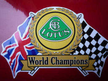 "Lotus World Champions Flag & Scroll Sticker. 3.75""."