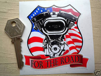 "Harley Davidson 'For The Road' V Twin USA Sticker. 3.5""."