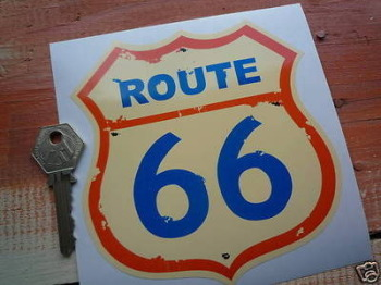 "Route 66 Blue, Cream & Orange Sticker. 5""."