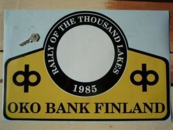 "Finland 1000 Lakes Oko Bank 1985 Rally Plate Sticker. 19""."