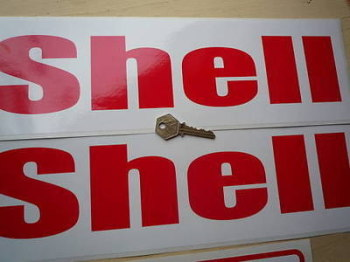 """Shell Red & White Rounded Text Narrow Stickers. 16"""" Pair."""