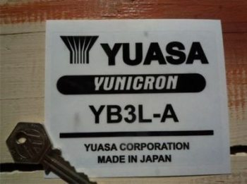 "Yuasa Yunicron Black Battery Label Sticker. 4""."