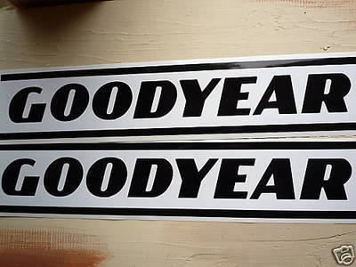 "GoodYear Black & White Striped Stickers. 19.5"" Pair."