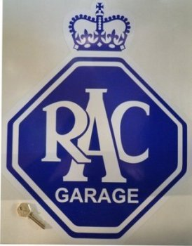 "RAC Large Garage Sticker. 14"" x 18""."