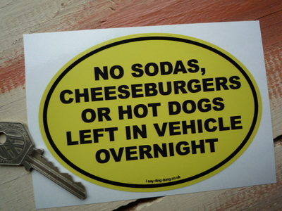 "No Hot Dogs Funny American Van/Car Sticker. 5""."