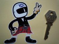 Scottish Driver Full Face Helmet 2 Fingered Salute Sticker. 3.5