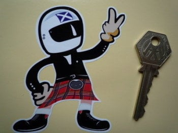 "Scottish Driver Full Face Helmet 2 Fingered Salute Sticker. 3.5""."