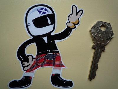 """Scottish Driver Full Face Helmet 2 Fingered Salute Sticker. 3.5""""."""