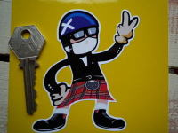 Scottish Driver Pudding Basin Helmet 2 Fingered Salute Sticker. 3.5