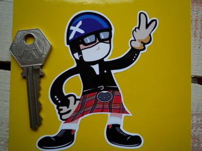 "Scottish Driver Pudding Basin Helmet 2 Fingered Salute Sticker. 3.5""."