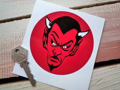 "Red Devil Circular Sticker. 4""."
