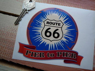 "Route 66 Pier to Pier Bumper Sticker. 5""."
