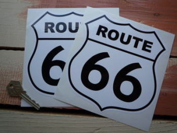 "Route 66 Black & White Stickers. 6"" Pair."