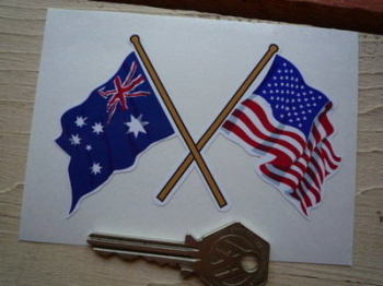 "Crossed Australian & USA Stars & Stripes Flag Sticker. 4""."