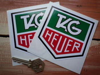 "Tag Heuer Black Outline Full Colour Stickers. 4"" Pair."