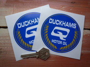 "Duckhams Q Motor Oil Circular  Stickers. 4"" Pair."