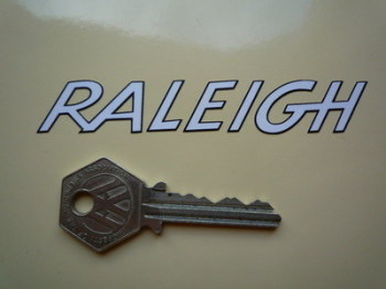 "Raleigh Outlined Cut Text Sticker. 4""."