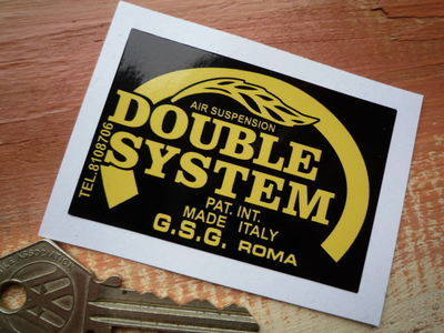 "Double System Suspension Black & Yellow Sticker. 3""."