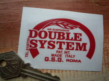 "Double System Suspension Red & Clear Sticker. 3""."