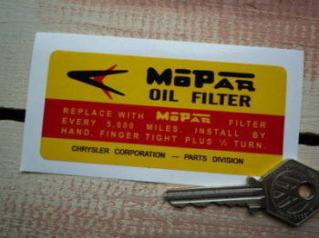 "Mopar Oil Filter Chrysler Sticker. 4""."