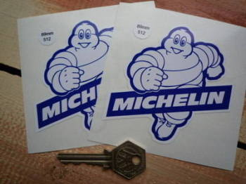 "Michelin Blue & White Bibendum Stickers. 3.5"" Pair."