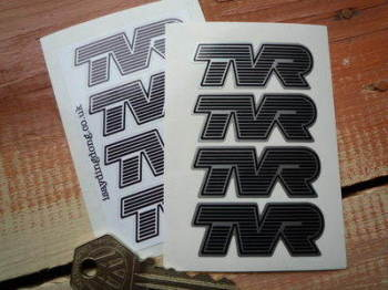 "TVR Shaped Striped Text Stickers. Set of 4. 2"" or 2.5""."