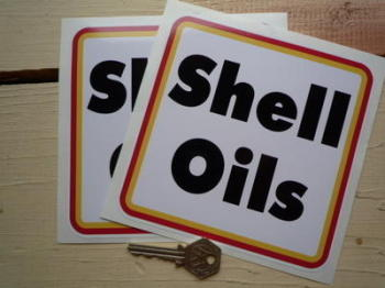 """Shell Oils Type A Rally Square Stickers. 6"""" Pair."""