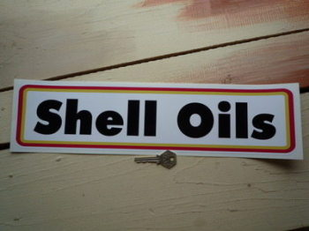 """Shell Oils Type A Narrow Oblong Stickers. 16.5"""" or 24"""" Pair."""
