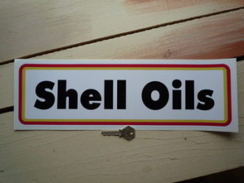 """Shell Oils Type A Thick Oblong Stickers. 15.5"""" Pair."""