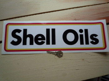 """Shell Oils Type B Thick Oblong Stickers. 15.5"""" Pair."""