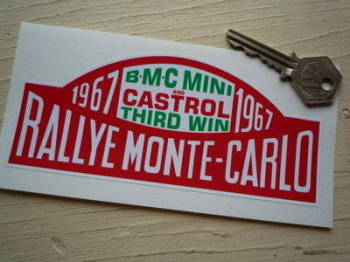 "BMC Mini & Castrol Third Win 1967 Monte-Carlo Rallye Winner Plate Sticker. 6""."