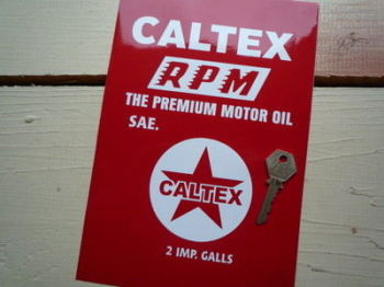 "Caltex RPM Oil Can Cut Vinyl Sticker. 8""."