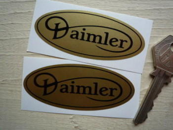 "Daimler Gold & Black Oval Stickers. 3"" Pair."