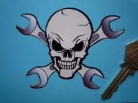 "Skull & Cross Spanners Shaped Sticker. 4"", 6"" or 8""."