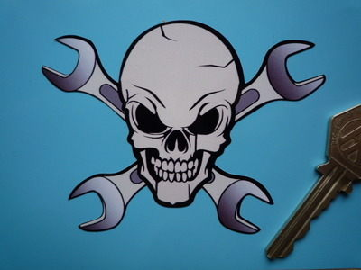 "Skull & Cross Spanners Shaped Sticker. 4"", 6"" or 8""."