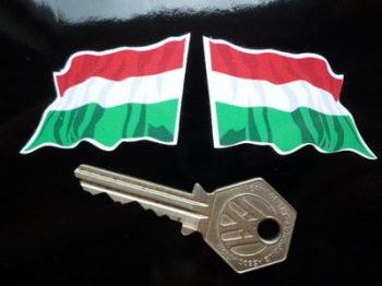 "Hungary Wavy Flag Stickers. 2"" Pair."