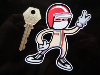 "Mille Miglia Driver 2 Fingered Salute Sticker. 3.5""."