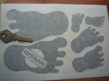 Nissan Cut Vinyl Footprint Stickers. Set of 6.