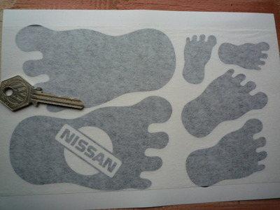 Nissan Cut Vinyl Footprint Stickers. Set of 6.