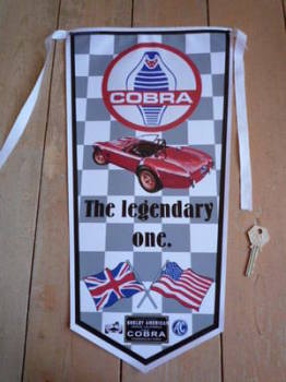 AC Cobra The Legendary One Grey Check Banner Pennant
