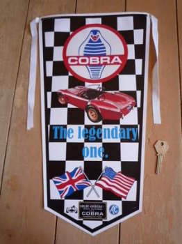 AC Cobra The Legendary One Black Check Banner Pennant