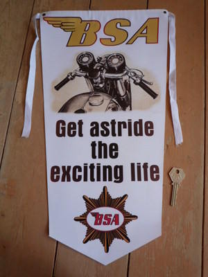 BSA Get Astride The Exciting Life Banner Pennant.