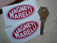 Magneti Marelli Red & White Oval Stickers. 2.75