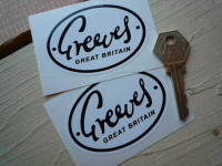 Greeves Great Britain Oval Black & White Stickers. 3