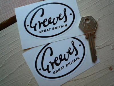 "Greeves Great Britain Oval Black & White Stickers. 3"" Pair."