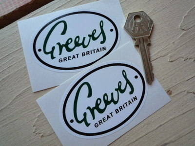 "Greeves Great Britain Oval Green, Black & White Stickers. 3"" Pair."