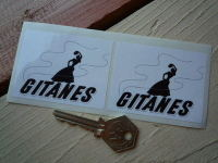 "Gitanes Gypsy Woman & Text Stickers. 2.75"" pair."