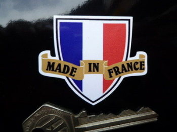 "Made in France Shield & Scroll Sticker. 2""."