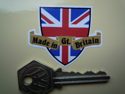 "Made in Great Britain Shield & Scroll Sticker. 2""."