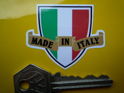 """Made in Italy Shield & Scroll Sticker. 2""""."""